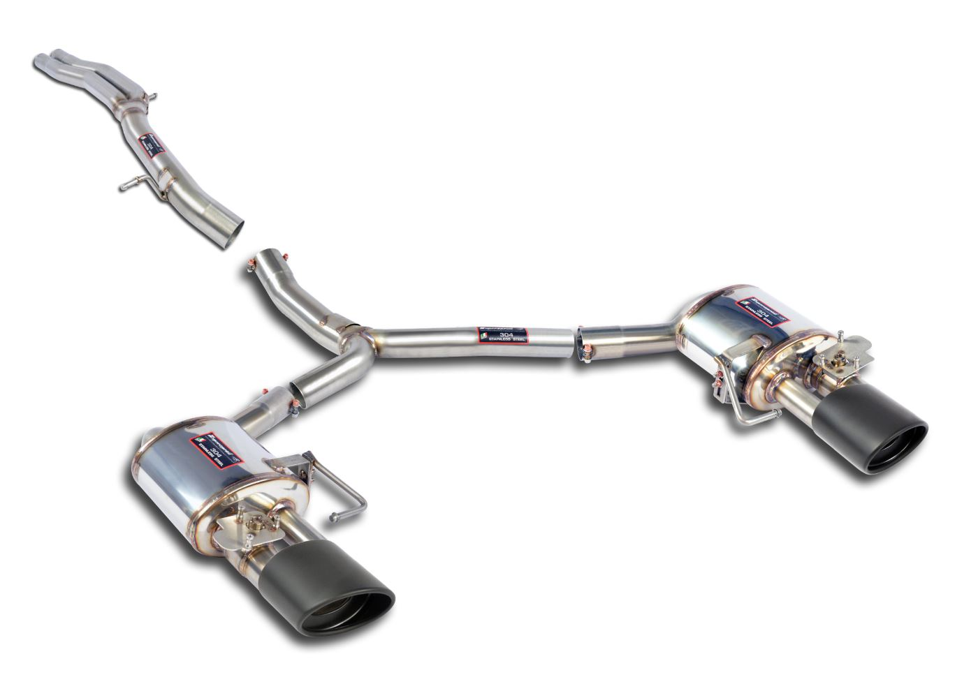 Audi RS4 RS5 B9 Cat-back valve exhaust unresonated w/ black tips